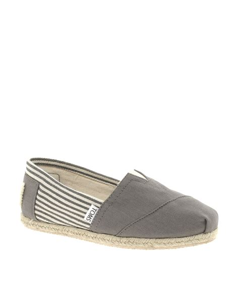 striped flat shoes toms toms ash gray striped espadrille flat