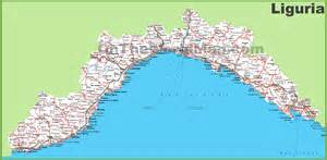 detailed map of cities and towns large detailed map of liguria with cities and towns