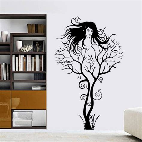 tree wall stickers for bedrooms ᐊcreative sexy girl tree wall sticker sticker removable