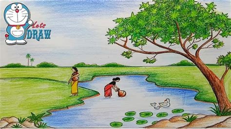 scenery cartoon drawing  getdrawingscom