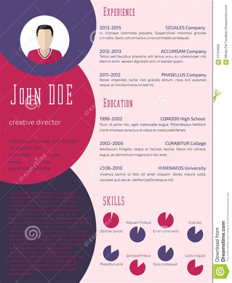 Resume Sample Harvard by Colorful Cool Resume Cv Template Stock Illustration
