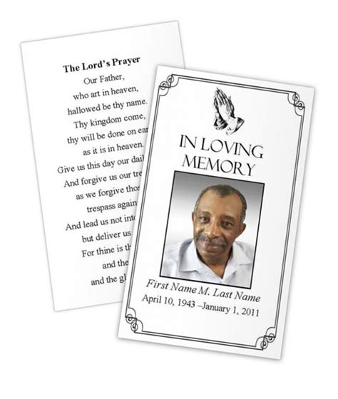 memorial cards for funeral template free 73 best printable funeral