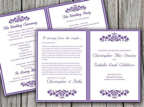 half fold wedding program template printable budding garden half fold wedding program