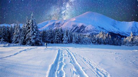 milky    night sky   snowy mountains hd