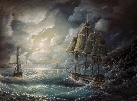 schip in storm ships clouds waves storm lighthouse painting sky sail