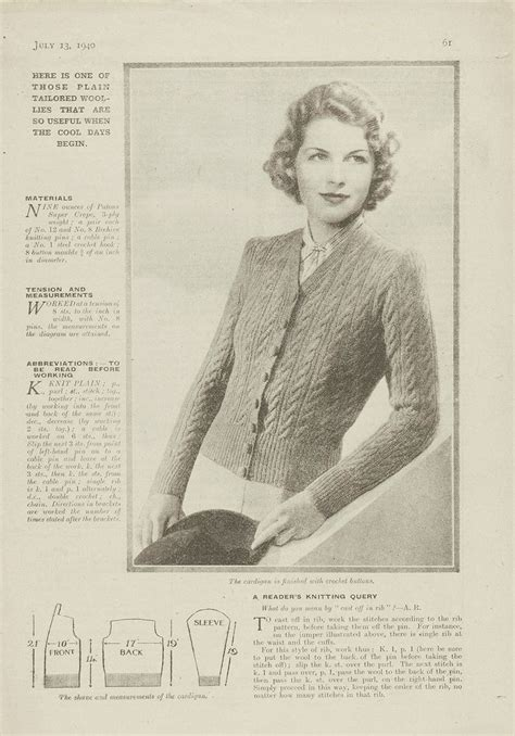 1940s Patterns To Knit V A From 1940 S Womens