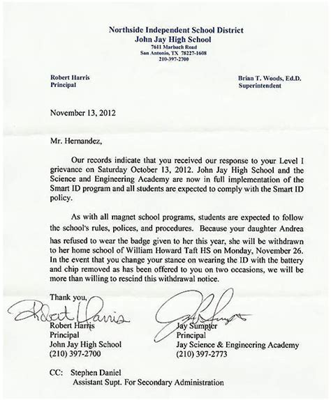 Withdrawal Letter For School Sle Letter From High School Withdrawing Andrea Hernandez For Not Wearing Rfid Tracking