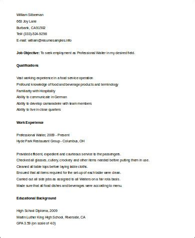 sle waiter resume 6 exles in word pdf