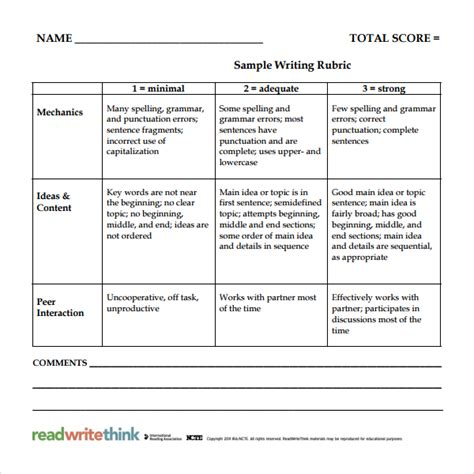 rubrics template sle rubric template 6 free documents in pdf