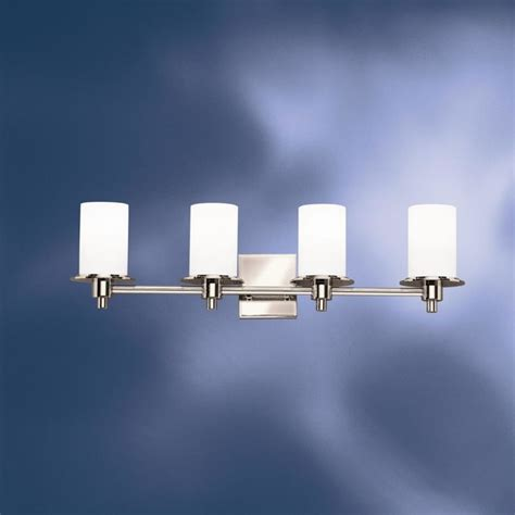 bathroom 4 light vanity fixture kichler lighting 5439pn cylinders four light bath