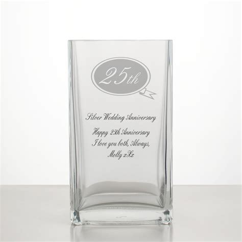 Ruby Red Vase Silver Wedding Annivesary Vase 25th Anniversary Gifts