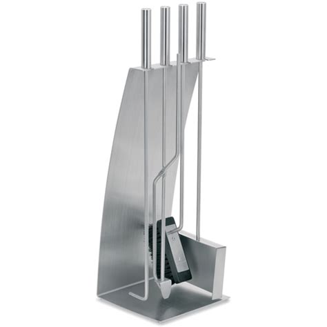 blomus stainless steel fireplace tool set in fireplace