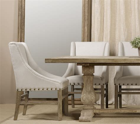 Nailhead Linen Upholstered Chairs   Farmhouse   Dining