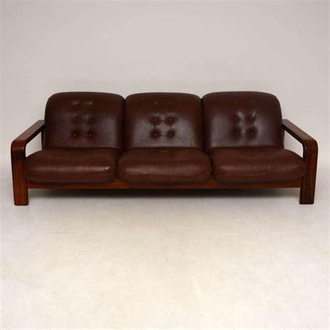 retro rosewood leather sofa vintage 1960 s