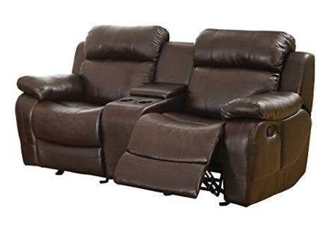 Reclining Sofa With Center Console Homelegance Marille Reclining Loveseat W Center Console Cup Holder Brown Bonded Leather