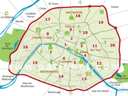 paris sections paris map neighborhoods districts arrondissements