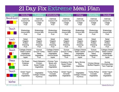 printable meal plan for 21 day fix tips to create a 21 day fix extreme meal plan 21 day fix