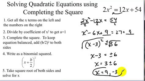 Solve By Completing The Square Worksheet by How To Solve Quadratic Equations By Completing The Square