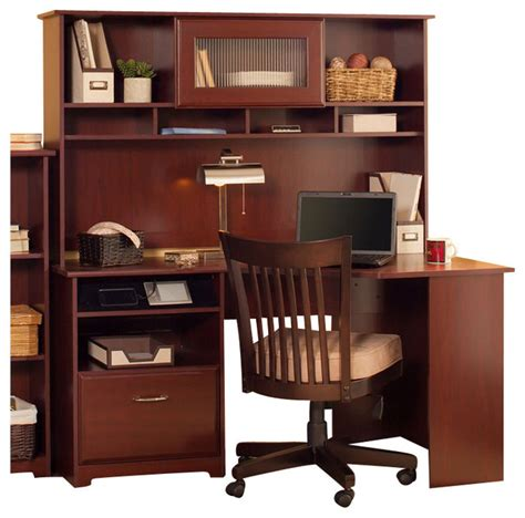 Corner Computer Desk With Hutch Ikea Cherry Computer Desks Bush Cabot 60 Corner Computer Desk With Hutch In Harvest Cherry Ikea