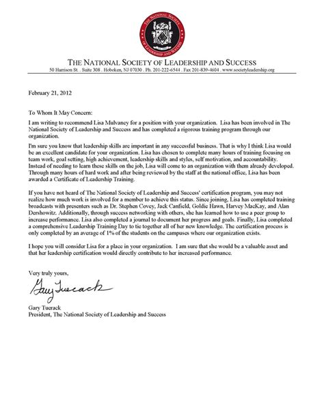 Reference Letter Qualities Letter Of Recommendation From The National Society Of Leadership And Success Chapter Images