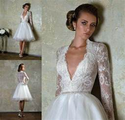 2014 new short custom size bridal gown v neck lace long