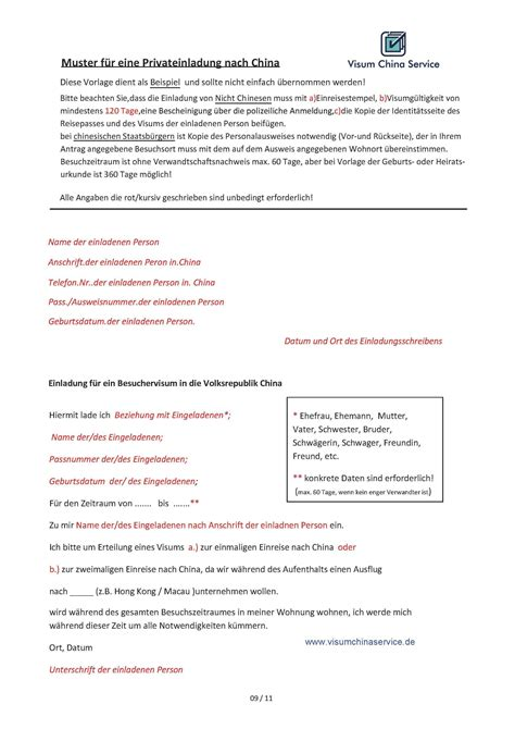 Muster Einladung China Visum Visum China Privateinladung