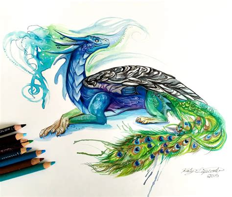 colors of dragons peacock color drawing by katy lipscomb