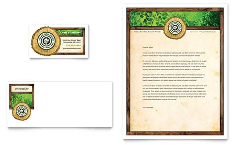 service card template tree service business card letterhead template design
