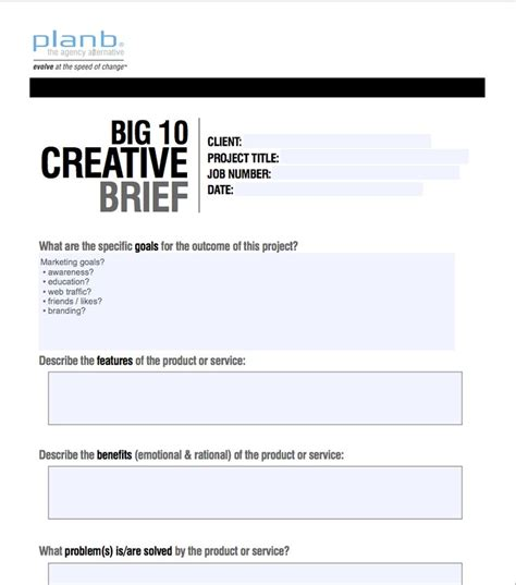 Digital Marketing Briefformat 19 best images about creative brief exles on print exles and template