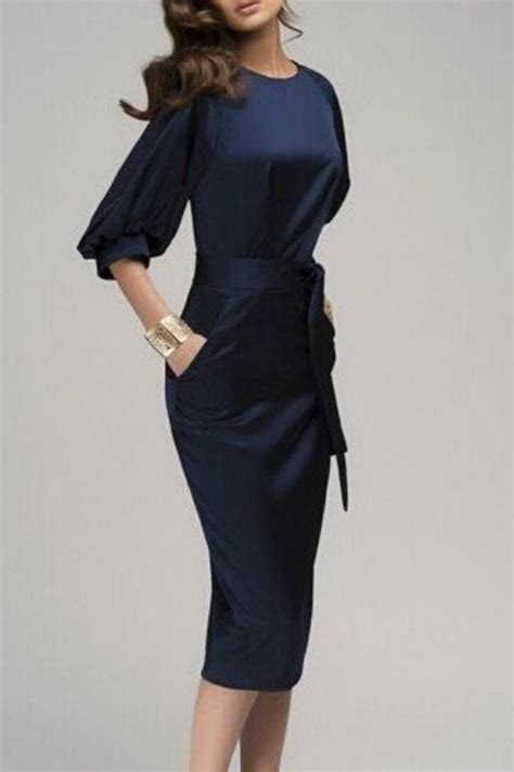 Bodycon Dress W7821uzi D Blue Navy navy blue belt sleeve fashion midi dress midi