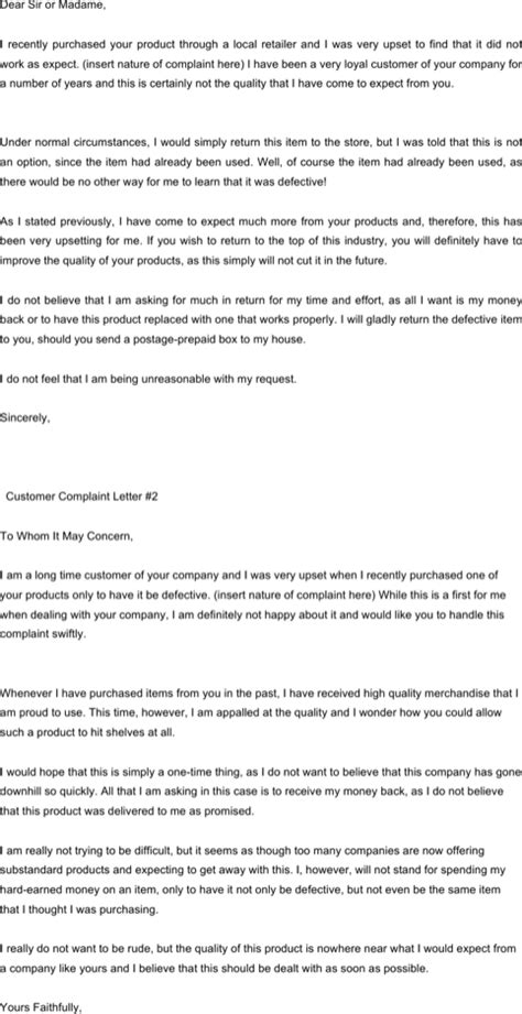 Complaint Letter About Exle Complaint Letters For Excel Pdf And Word