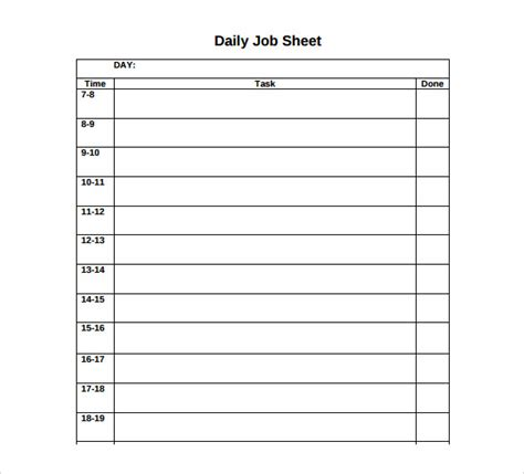 daily sheet template sle sheet template 11 free documents in pdf