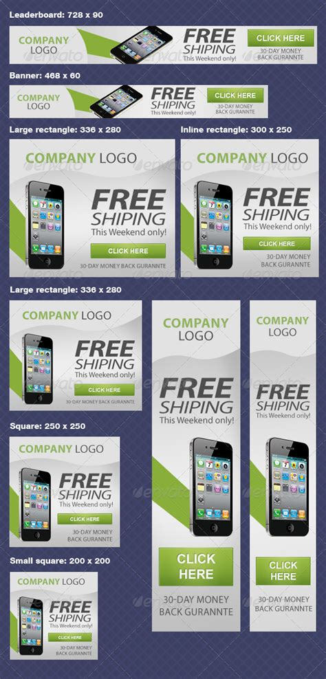 Multiple Google Adwords Banners By Makonline Graphicriver Adwords Ad Template