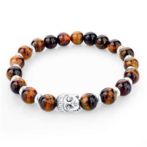 2016 Natural Stone Buddha Charm Bracelets With Stones Beads Bracelets For Women Men Silver