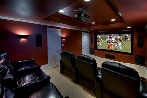 ashburn transitional basement theatre room