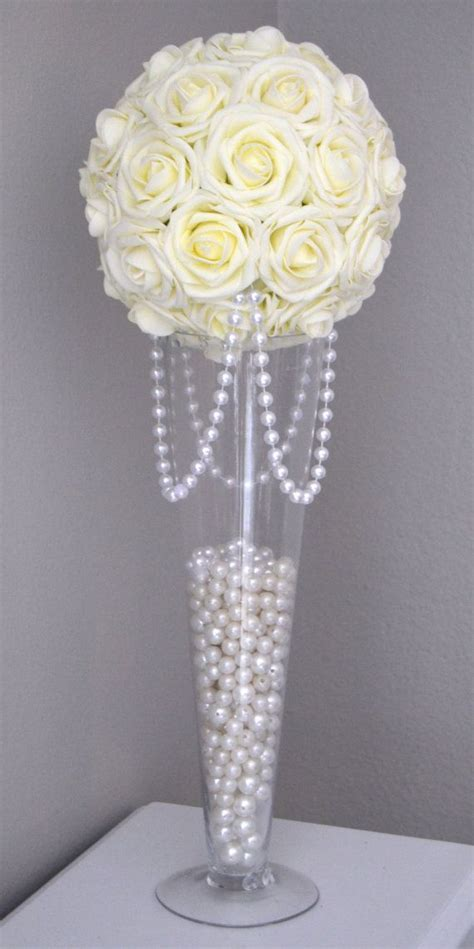 IVORY Flower Ball With DRAPING PEARLS. Ivory Wedding