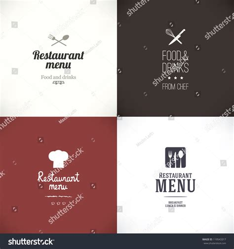 menu design label label set for restaurant menu design stock vector