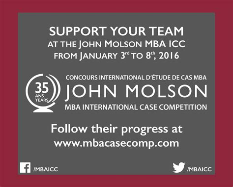 Johns Global Mba Program by Press Release Molson Mba International Competition