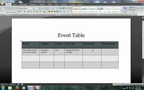 Event Table by Systems Analysis Modeling Event Tables Avi