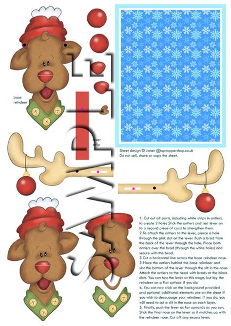 free printable movable reindeer animated moveable decoupage christmas reindeer digital