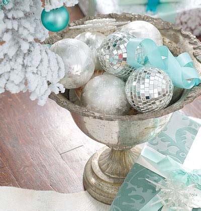 flocked tree with turquoise decorations trendy tree blog