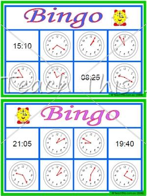 printable board games time clock bingo 5 min 24 hour class set fun math games