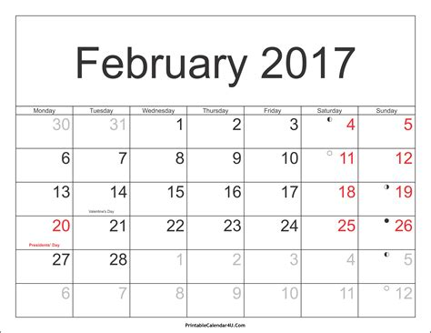 Febuary Calendar February 2017 Calendar Printable With Holidays Pdf And Jpg