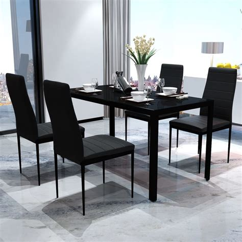 Contemporary Dining Table Chairs Contemporary Dining Set With Table And 4 Chairs Black Vidaxl Co Uk