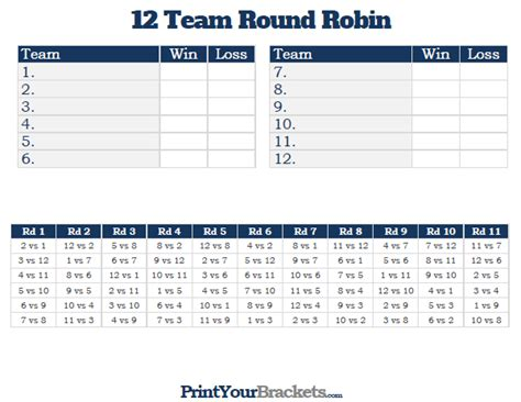 tournament schedule template 12 team robin printable tournament bracket
