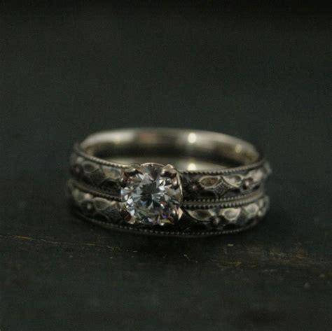 silver engagement ring renaissance engagement set white