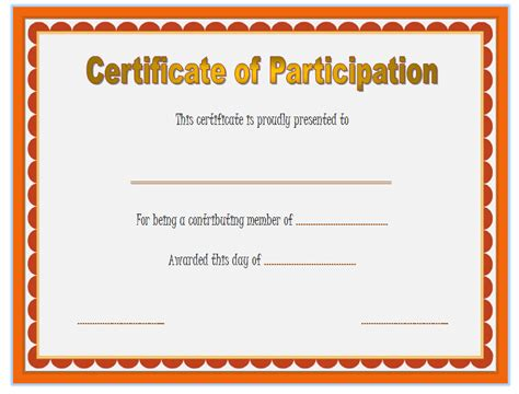 certificate of participation template word participation certificate template 6 best 10 templates