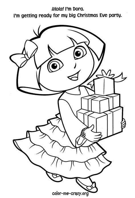 free christmas coloring pages dora christmas coloring