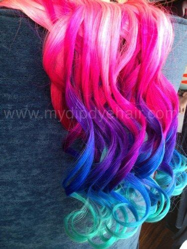 ombre hair extensions black hair with vibrant pink purple and blue jewelry and accessories