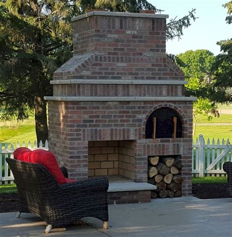 Outdoor Fireplace Stacked Tempting And Brick A Beautiful Outdoor Fireplace And Wood Fired Brick Pizza